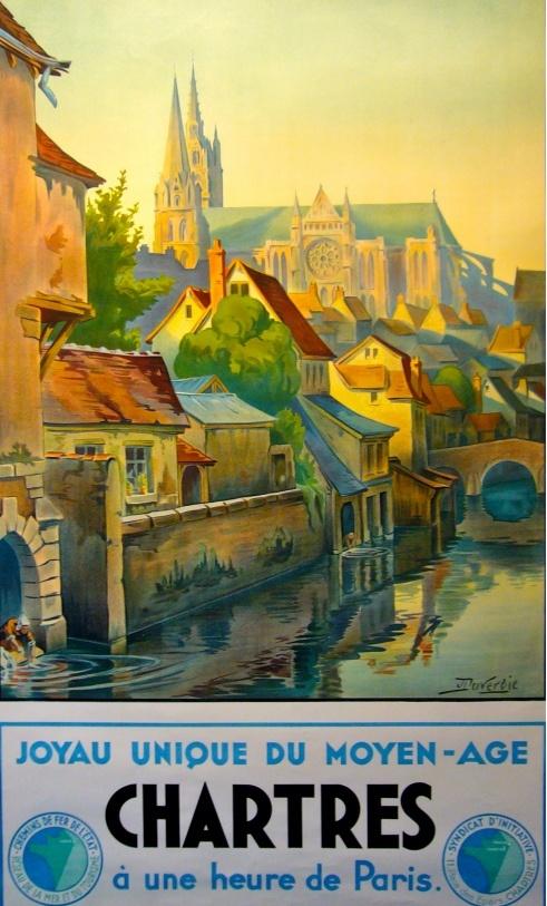 Vintage Travel Poster - Chartres Plus belle ville que j'ai eu la chance de visiter. Sans aucune exception.