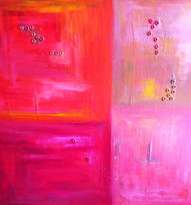"""Plan Rouge"" Acrylic painting with metal detail by Julie Lundin 