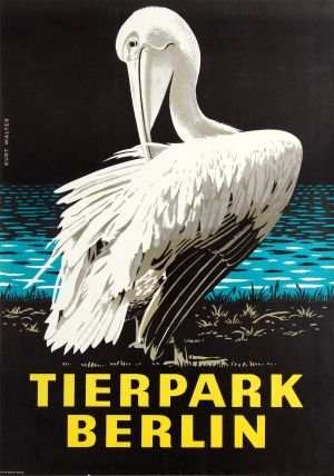 Berlin Zoo Pelican, 1978 - original vintage travel advertising poster by Kurt Walter for the Berlin Zoo (Tierpark Berlin) listed on AntikBar.co.uk