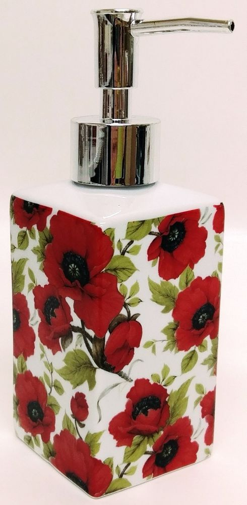 Red Poppy Soap Dispenser Ceramic Poppies Pump Liquid Dispenser Hand Decorated UK #Fromeuropewithlove