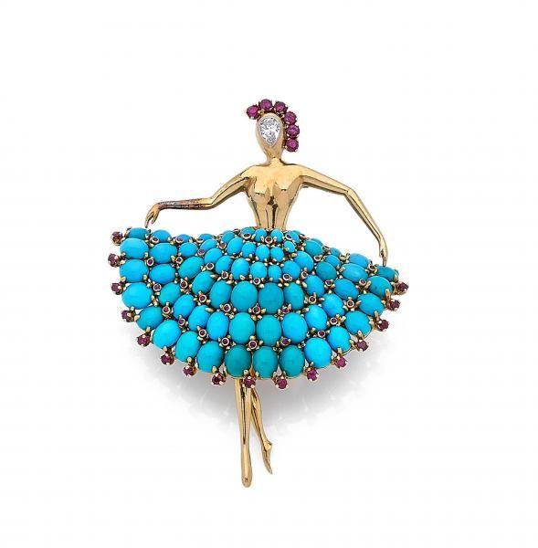 """VAN CLEEF & ARPELS - Clip de corsage """"Ballerine"""" - En or jaune 18k (750) stylisée [...], Joaillerie - 1ère partie à Artcurial   Auction.fr"""