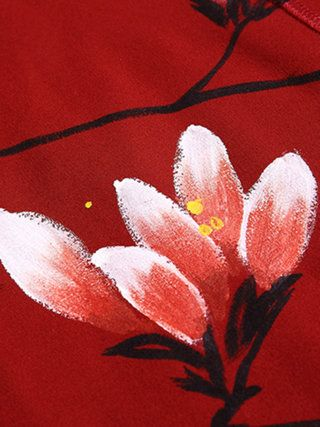 Red Shift Cotton-blend Long Sleeve Hand-drawn Midi Dress