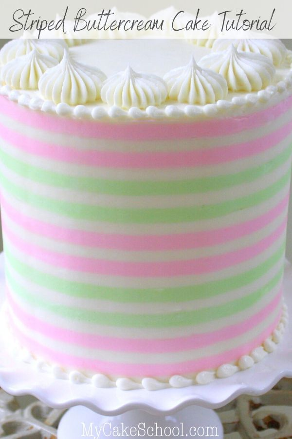 How To Create Striped Buttercream A Cake Decorating Video Tutorial Buttercream Cake Designs Buttercream Decorating Butter Cream
