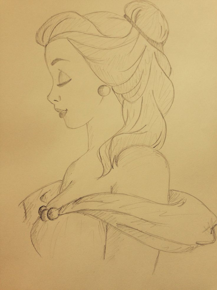 Princess Belle Beauty and the Beast Pencil Sketch Disney