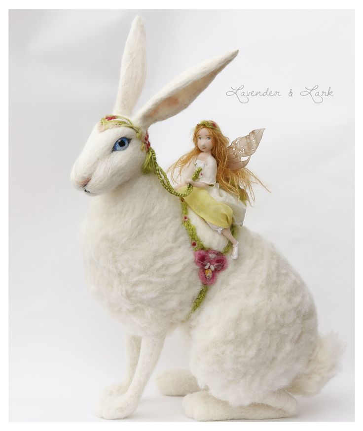 Needle felted Spring Hare by Lavender & Lark fairy doll