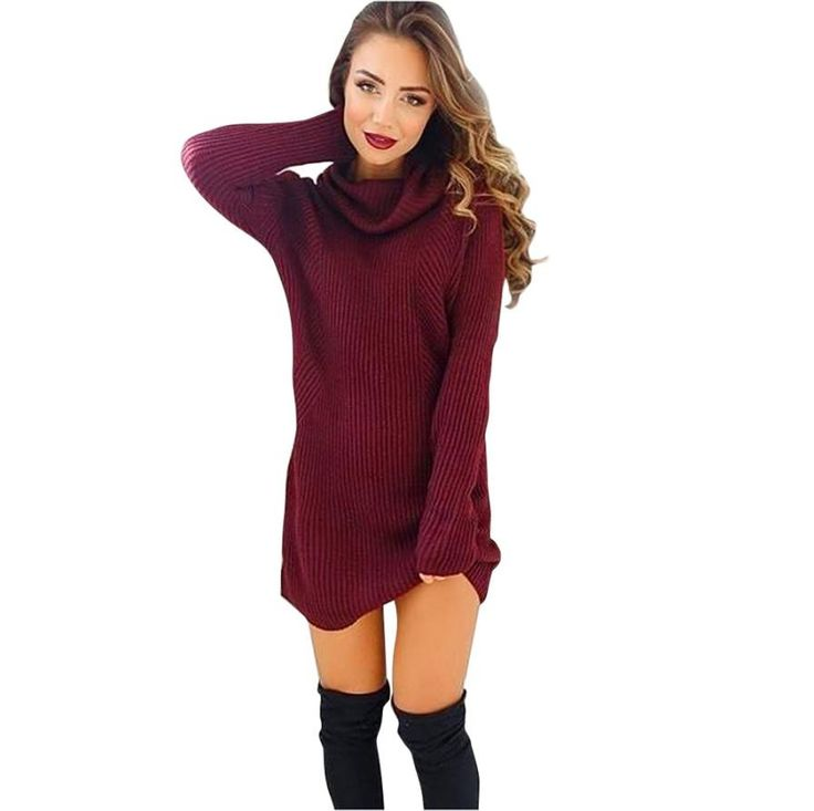 2016 New Women's Winter Fashion Casual Warm Womens Casual Long Sleeve Jumper Turtleneck Sweaters Coat Blouse#93320