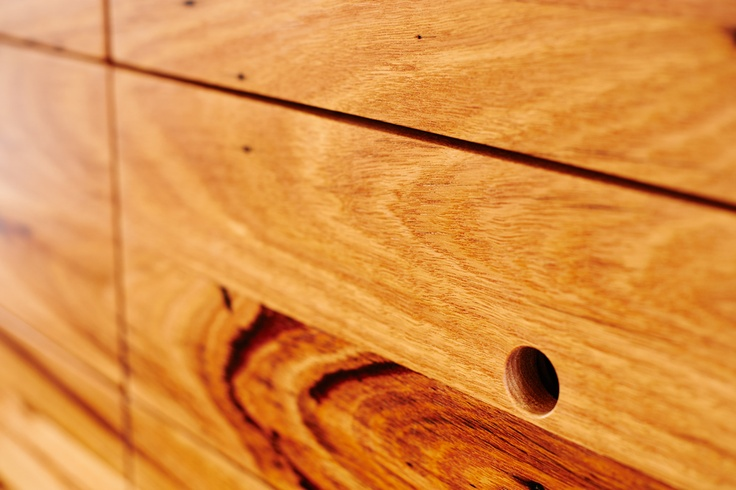 Auld Design Australian furniture design and joinery; close-up of finger pull detail in handmade solid messmate entertainment unit / sideboard