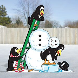 "Penguins Building Snowman Pattern:  These comical characters will look great in your front yard. Match them up with others on pages 2 & 9 to make your own penguin playland. 34""H x 35""W.   Pattern #2114  $11.95   ( crafting, crafts, woodcraft, pattern, woodworking, yard art ) Pattern by Sherwood Creations"