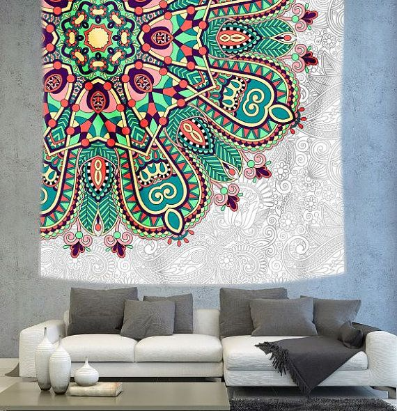 White Floral ethnic Mandala Wall tapestry by Christinedecorshop