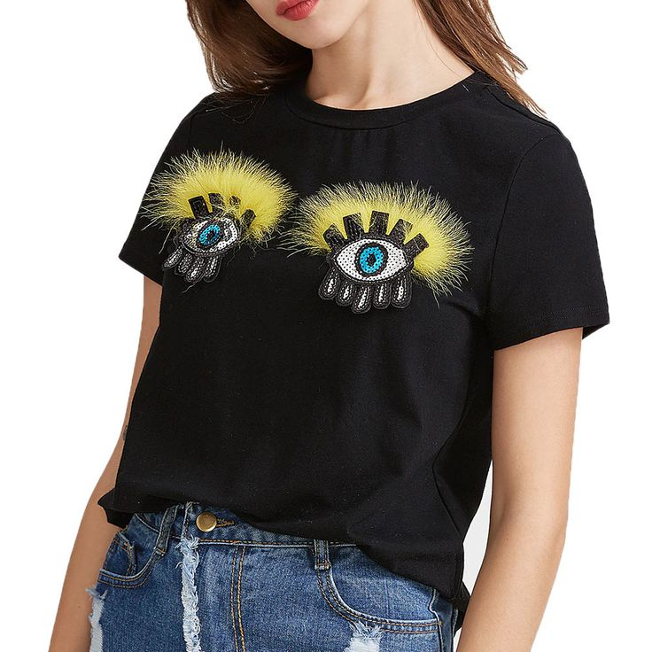 Cute Eyelashes Print Tshirt Women Punk Fashion T-shirt Summer Women Short Sleeved Eyes Clothes Shirt Drop Shipping Black Tops