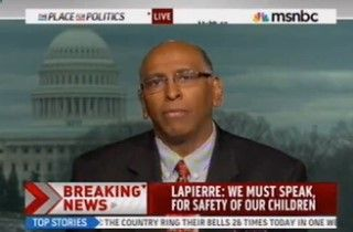 Following the National Rifle Association CEO Wayne LaPierres press conference about last weeks Sandy Hook school shooting, MSNBC conservative contributor Michael Steele was left literally speechless at first before expressing his dismay at the pro-gun lobbying organizations suggestion that the government arm police officers in all schools.