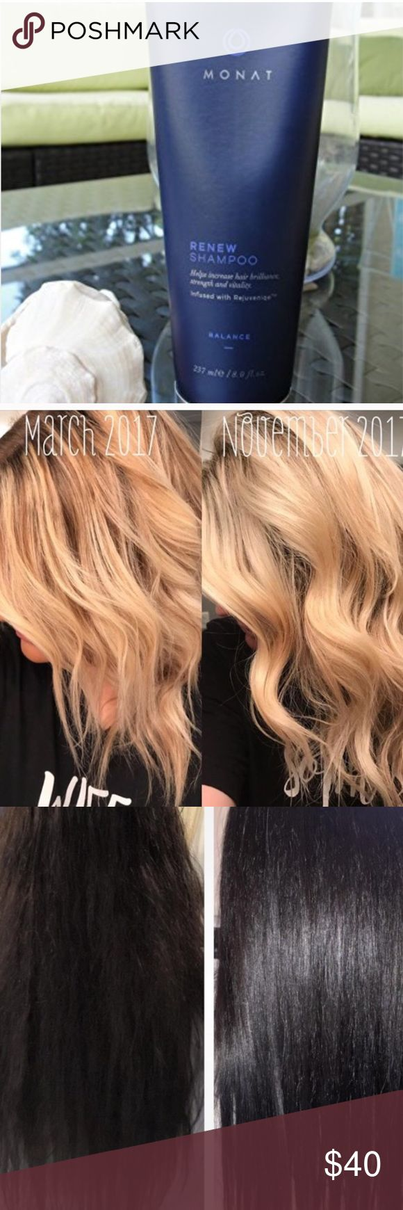 MONAT Renew Hydrating Shampoo + FREE Samples New full size. Hydrating shampoo. Infused with Rejuvenique Oil. A truly transformative shampoo!  Comes with 2 free samples of product while supplies last! Monat Makeup