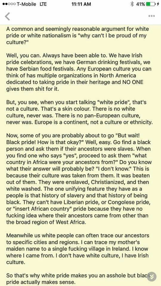 """White pride"" is not a culture."