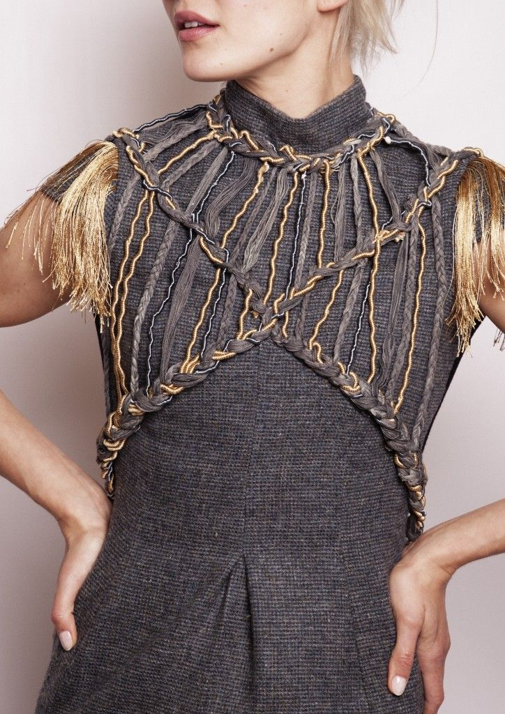 Kelsey Harte, Grafton Academy of Fashion Design, graduate 2015. All wool collection, here with beautiful rope overlay.