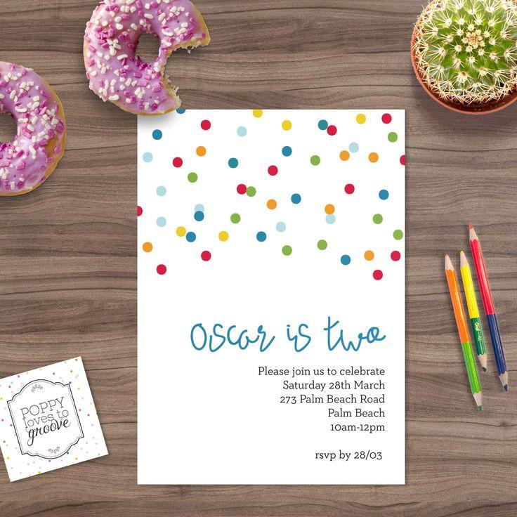 Custom Birthday Invitations, Colourful Confetti Invites, Custom Invitations, Kids Party invites, Printable Invitations, Digital file, 5x7 by poppylovestogroove on Etsy https://www.etsy.com/au/listing/294117545/custom-birthday-invitations-colourful