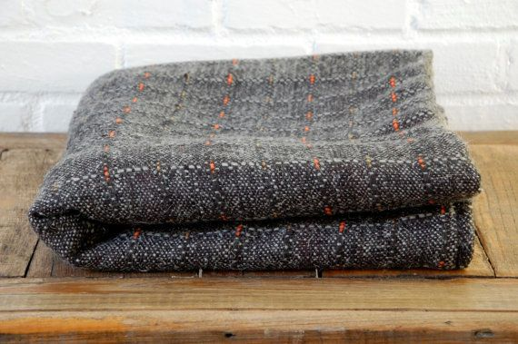 Green Wool and Camel Hair Blanket by LocalProduceDesign on Etsy