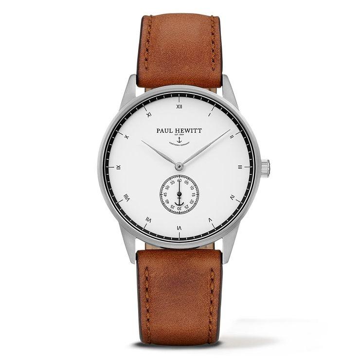 PAUL HEWITT Signature Line Watch Silver Mark White Ocean Leather Nubuk Brown PH-M1-S-W-1M - Kultatähti.fi verkkokaupasta