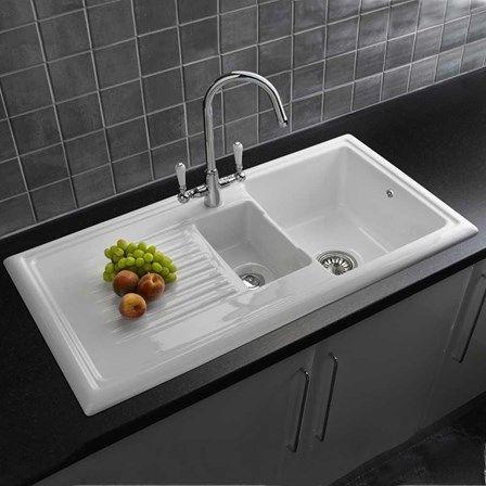 Reginox 1.5 Bowl Ceramic Kitchen Sink U0026 Waste Kit With Reversible Drainer    1010 X 525mm