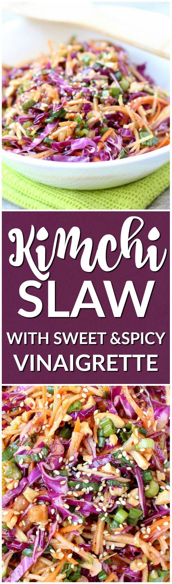 Kimchi Slaw is light, refreshing, sweet, spicy, and crunchy. It's everything a refreshing side dish should be! |www.kimchichick.com