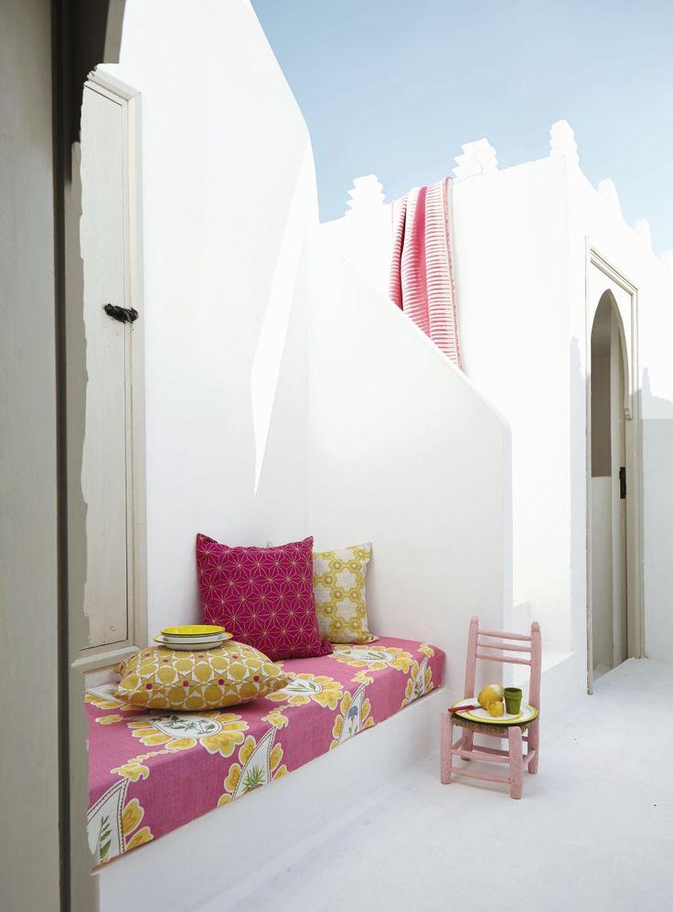 Un patio au Maroc et un rêve en rose.
