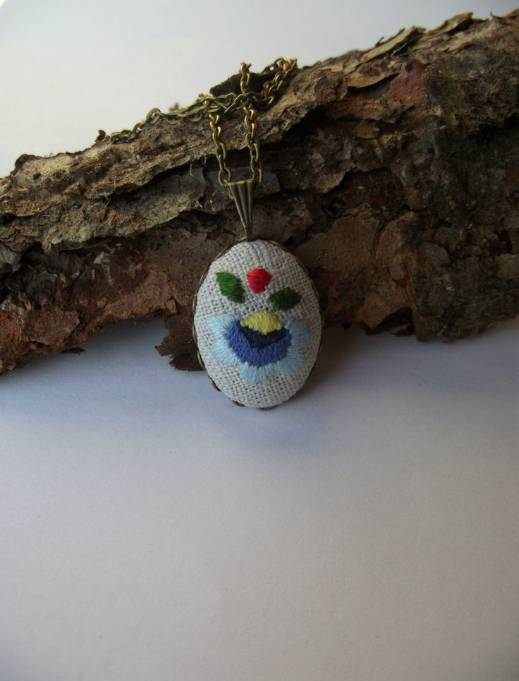 Pendant with Kashubian embroidery by ZoZulkaart on Etsy