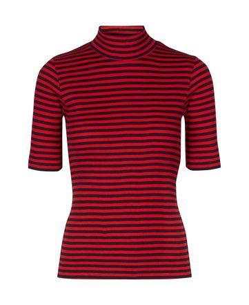 Rode gestreepte top  - Mads Norgaard - The Little Black Dress - www.thelittleblackdress.nl