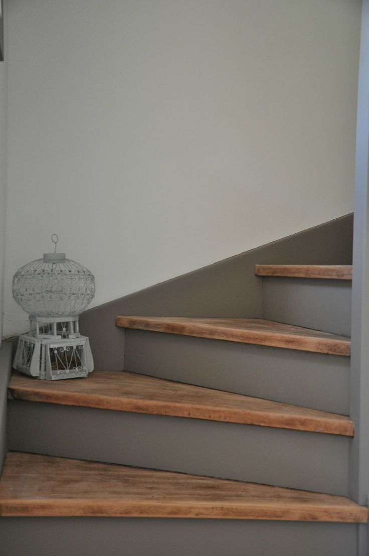 Stair treads left bare wood, waxed, risers painted in stormy grey, clean line on…