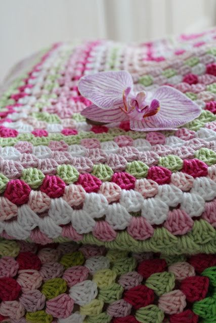 Pic only but looks like LG granny square.....beautiful colour combination, would be really pretty for a baby's room
