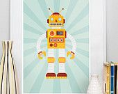 Kindergarten Roboter-Druck, retro-Poster, Kinder Zimmer Kunst, Vintage Spielzeug Dekor, Geekery, Roboter Kunst, Retrobot 2 8 x 10 oder A4