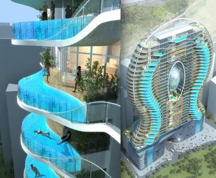 Futuristic Concept Luxury Apartments. Each Apartment Has Its Own Swimming  Pool