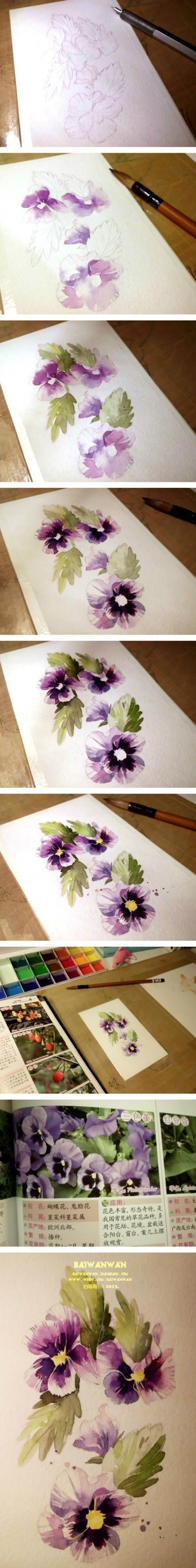 11816 best images about watercolor tutorials on pinterest for How to paint watercolor flowers step by step
