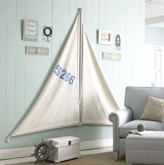 """Set Sail Room Decor"" tutorial from JoAnn Crafts ""Meet me by the Sea"" collection. Would make a great headboard."