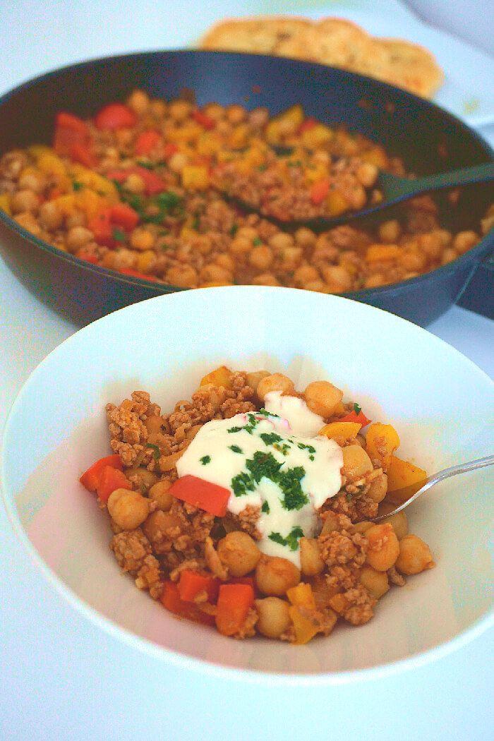 Eine köstliche Kichererbsen-Hackfleischpfanne, die kohlenhydratarm und perfekt …   – Mahlzeiten