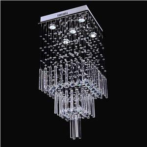 Modern Deckenleuchte Kristall Chrom 5 flammig Eckig