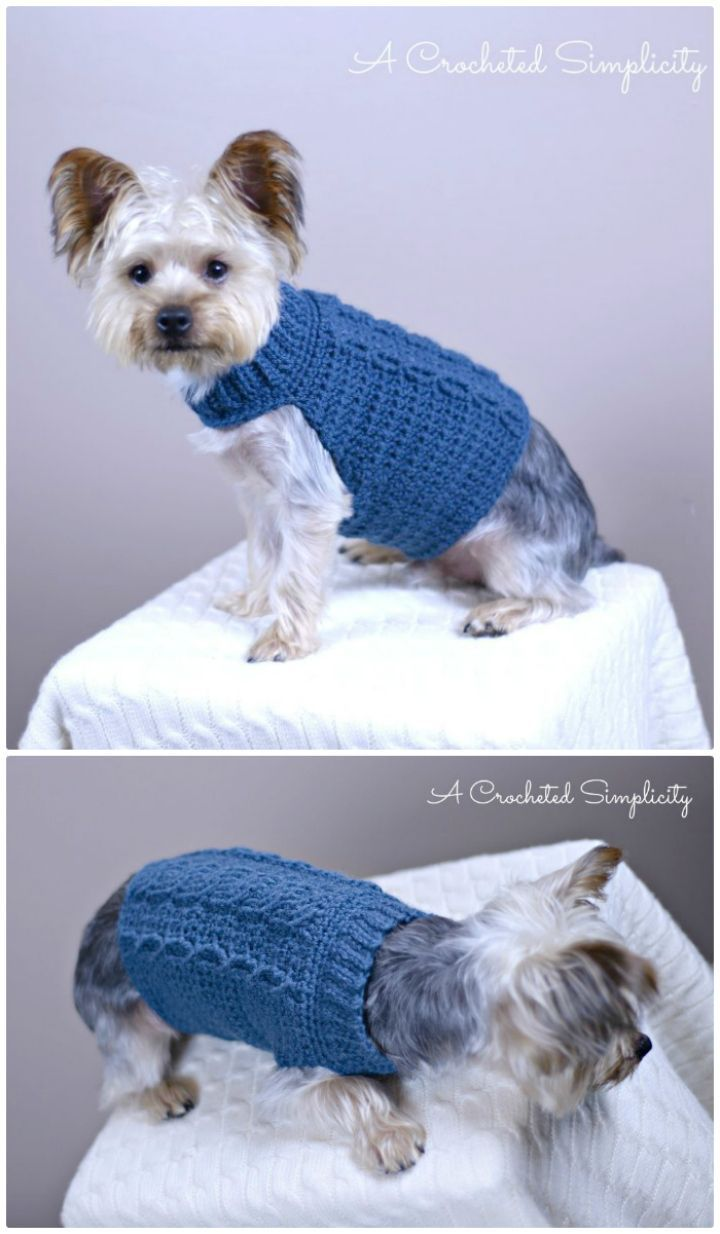 Free Crochet Cabled Dog Sweater Pattern - 26 Free Crochet Patterns For Pets to Make Their Life Easier - DIY & Crafts