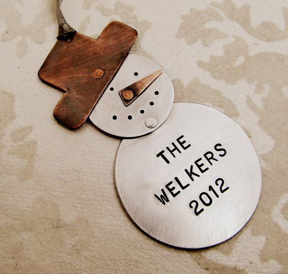 Personalized ornament hand stamped