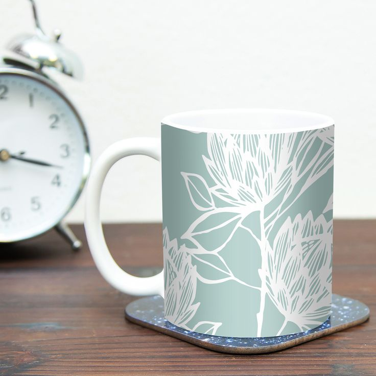 Protea Jade by Gill Eggleston 11 oz. Flowers Ceramic Coffee Mug