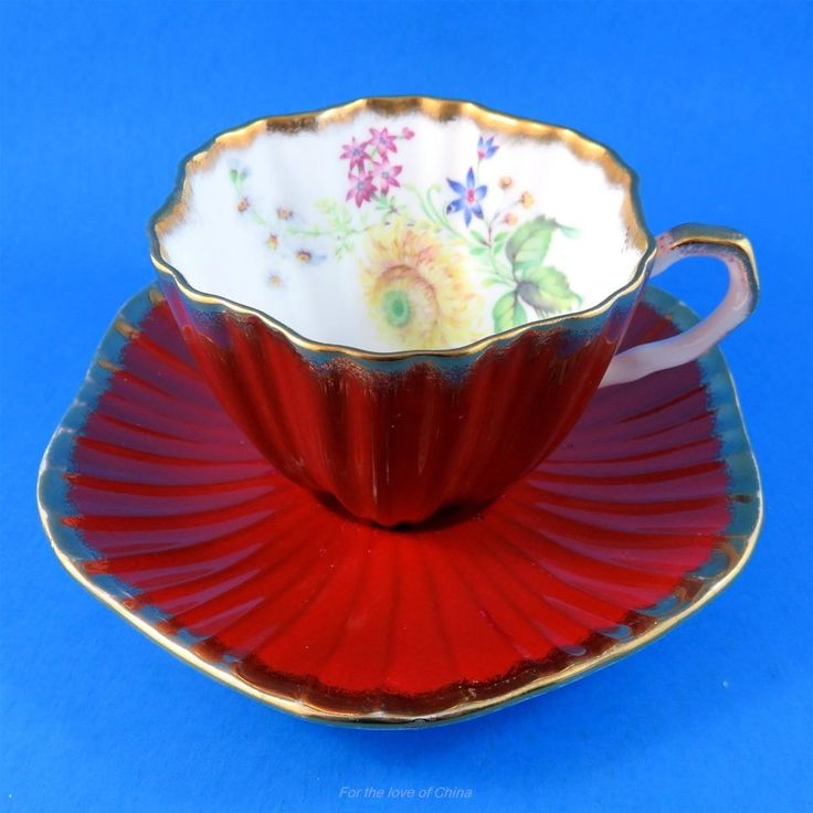 Deep Red Burgundy and Floral Ruffled Shaped Foley Tea Cup and Saucer Set | Antiques, Decorative Arts, Ceramics & Porcelain | eBay!
