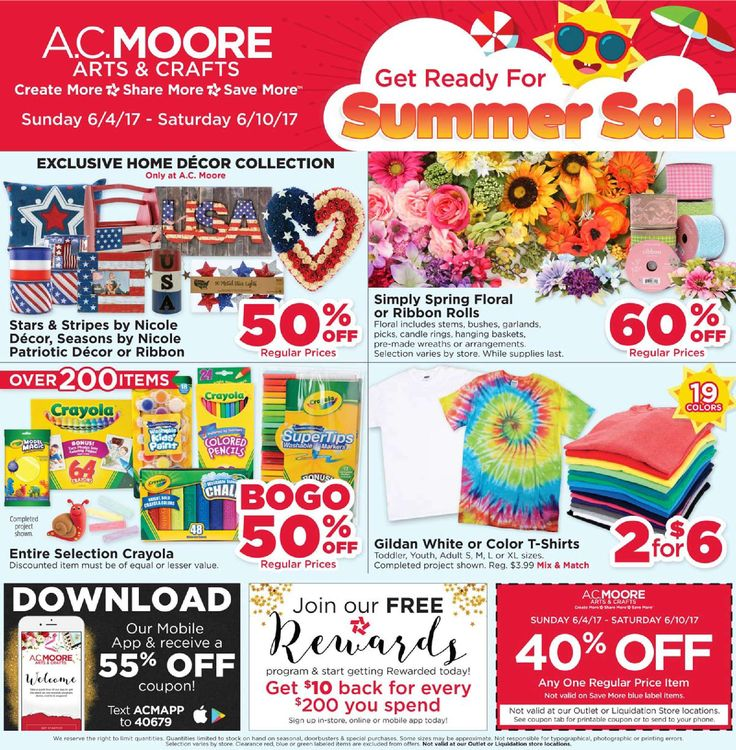 AC Moore Weekly Ad June 4 - 10, 2017 - http://www.olcatalog.com/home-garden/ac-moore-weekly-ad.html