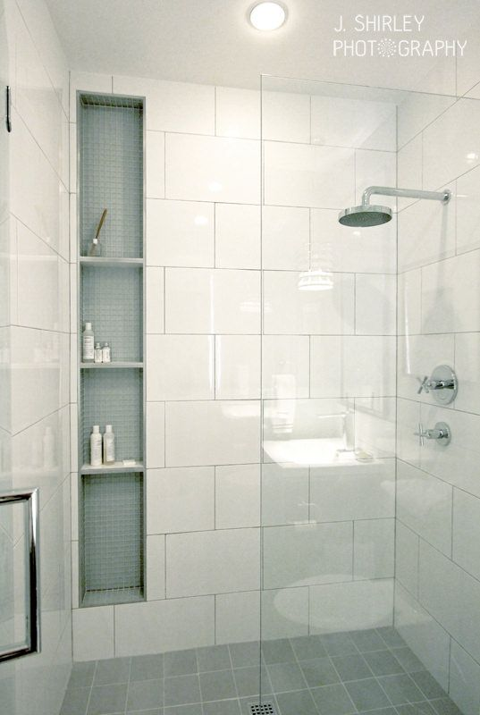 images of bathroom tile i love the large white tiles and light blue matte glass tile from anne sacks inside of the niche the face of the shelves are trimmed with stainless steel