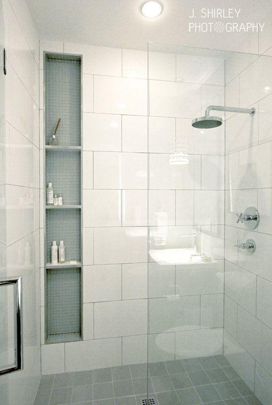 Big Subway Tiles, Glass Wall, Modern Shower. J Shirley Photography