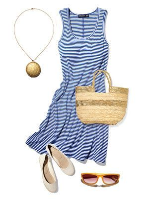 Hot days call for a cool cotton dress. This one is loose through the waist for a comfy fit. Wear it as a coverup or slip on some accessories to get it party-ready. Dress, Faded Glory. $7; at Walmart Flats, Old Nav