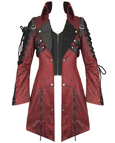 Steampunk - Punk Rave Poison Jacket Mens Red Black Faux Leather Goth Steampunk Military Coat