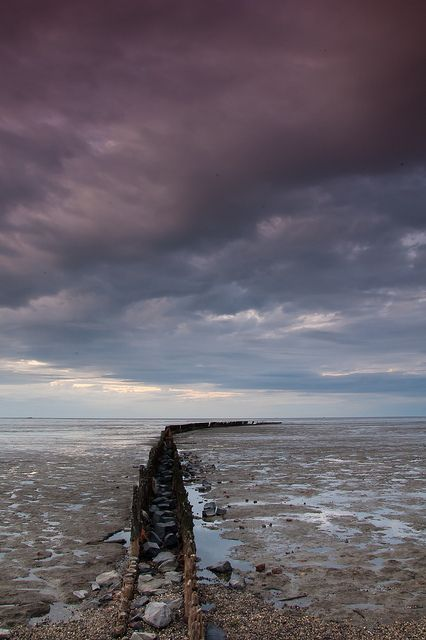 grey sky over The Wadden Sea, wetlands (UNESCO World Heritage Site), The Netherlands