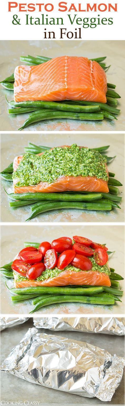 Pesto Salmon and Italian Veggies in Foil: this is an easy, flavorful dinner that is sure to please.