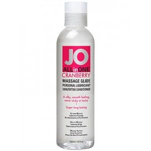 JO ALL-IN-ONE CRANBERRY, silicone based massage glide, personal lubricant, skin conditioner, revives tattoo's, concentrated, $26.95