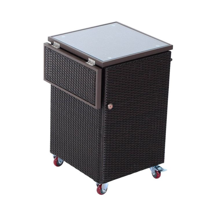 Rolling Kitchen Trolley Cart Wicker Dining Storage Portable Home NEW Dark Brown #1