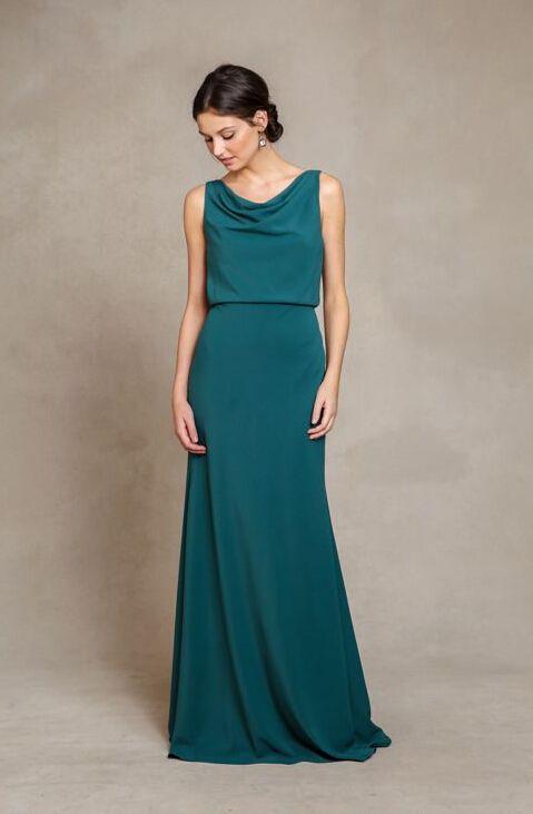 Chic Cowl Neck Casual Style A-line Emerald Green Long Chiffon Bridesmaid Dress