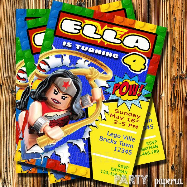 A personal favorite from my Etsy shop https://www.etsy.com/listing/245622211/wonder-woman-invitation-super-girl