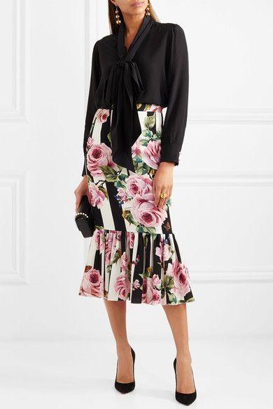 Dolce & Gabbana | Floral-print silk-blend midi skirt | NET-A-PORTER.COM